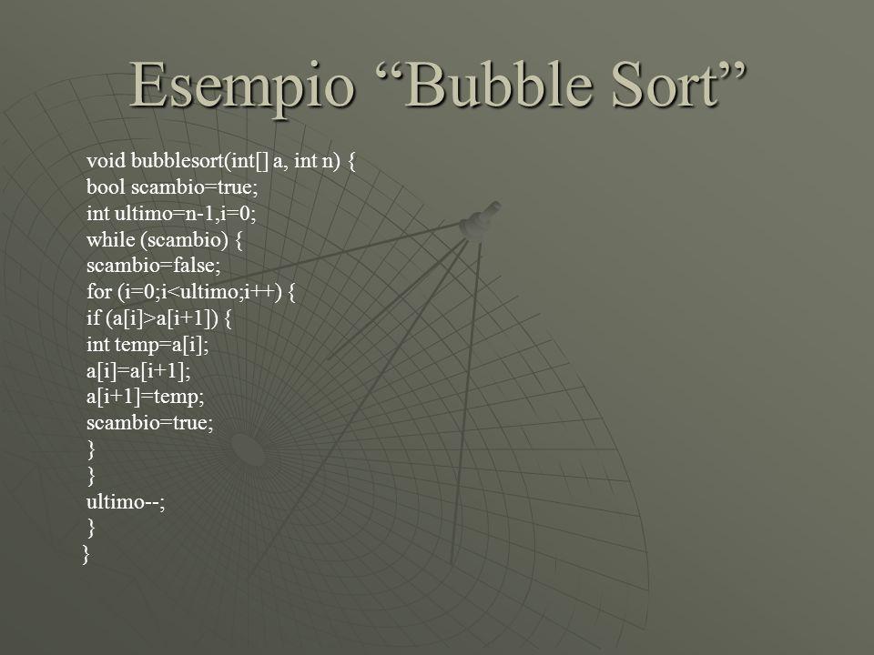 Esempio Bubble Sort void bubblesort(int[] a, int n) {